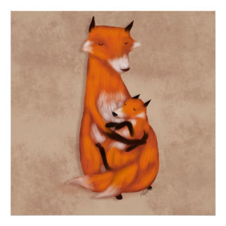 Momma Fox and Baby Poster