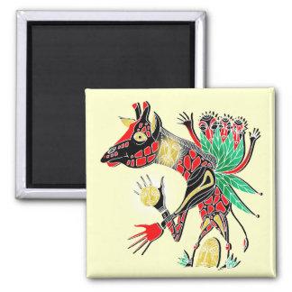 momma giraffe square magnet