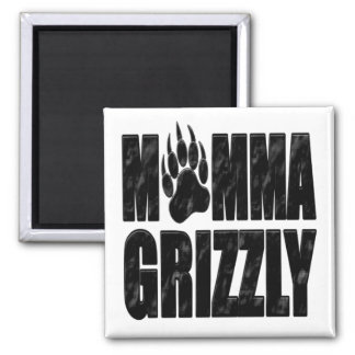 Momma Grizzly Square Magnet