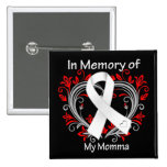 Momma - In Memory Lung Cancer Heart 15 Cm Square Badge