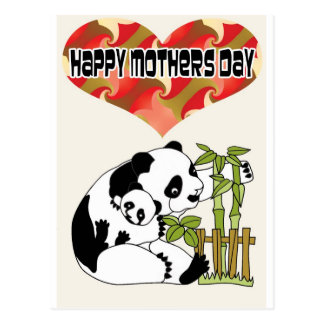 Mommie with Baby Panda Postcard