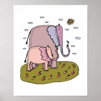 mommy & baby elephant eating fruit poster