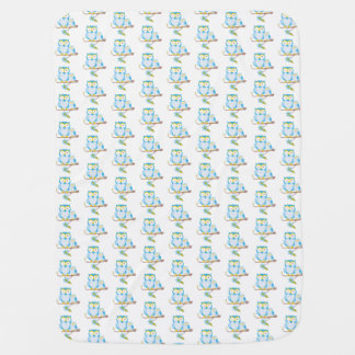 Mommy and Baby Owl Baby Blanket, Blue, monogrammed Baby Blanket
