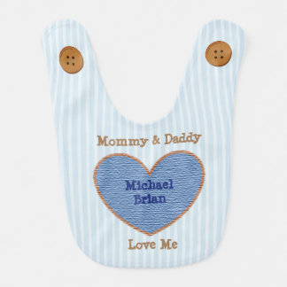 Mommy and Daddy  Loves Me Blue and Brown Bib