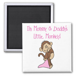 Mommy and Daddy s Monkey - Pink Tshirts and Gifts Refrigerator Magnets