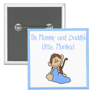 Mommy and Daddy's Monkey -Blue Tshirts and Gifts 15 Cm Square Badge