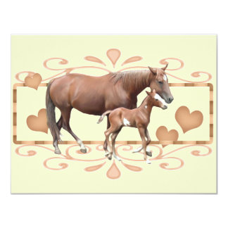 Mommy And Foal 11 Cm X 14 Cm Invitation Card