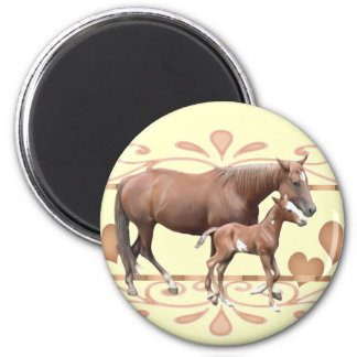 Mommy And Foal 6 Cm Round Magnet