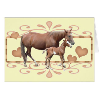 Mommy And Foal Greeting Card
