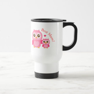 Mommy and Me, Cute Baby Owl, Mother's Day Stainless Steel Travel Mug