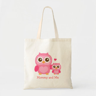 Mommy and Me, Cute Baby Owl, Pink Tote Bag