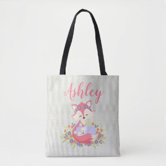 Mommy and Me Daughter Fox Family Flower Floral Tote Bag