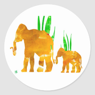 Mommy and Me Elephant Round Sticker