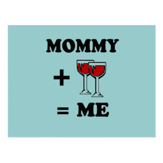 Mommy and wine equals me baby t-shirt postcard