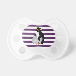 Mommy & Baby Gray Penguin On Purple Stripes Dummy