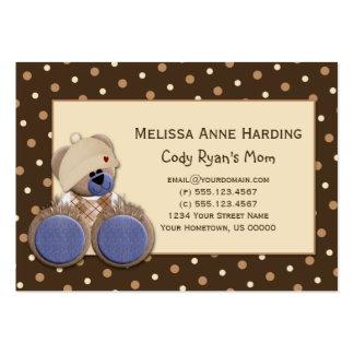 Mommy Calling Card Blue Brown Teddy Bear Business Card