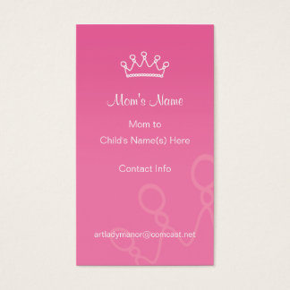 Mommy Calling Card - Pink Crown Profile Card