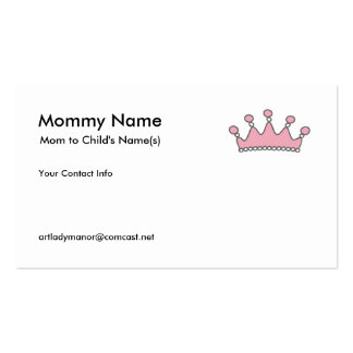 Mommy Calling Card - Pink Tiara Pack Of Standard Business Cards