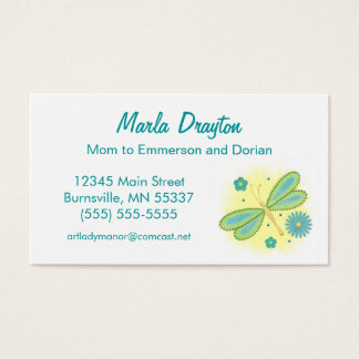 Mommy Calling Card - spring butterfly and flowers