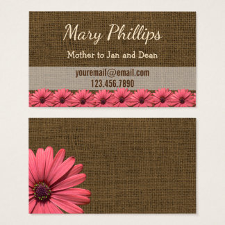 Mommy Calling Cards   Floral Burlap Daisies