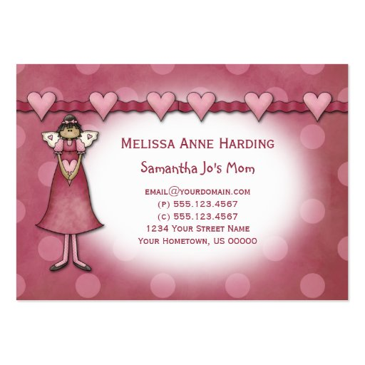 Mommy Calling Cards Pink Hearts Dots Angels Business Card Template