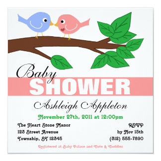 """Mommy & Daddy Birdies Baby Shower Invitations 5.25"""" Square Invitation Card"""
