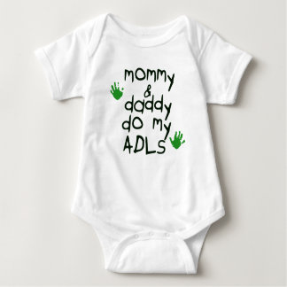 Mommy & Daddy do my ADLs green handprint OT baby Baby Bodysuit