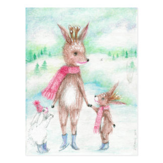Mommy deer with Bambi baby and Bunny huggles Postcard