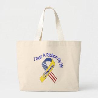 Mommy - I Wear A Ribbon Military Patriotic Jumbo Tote Bag