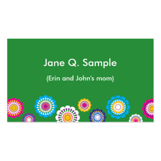Mommy information card in green business cards