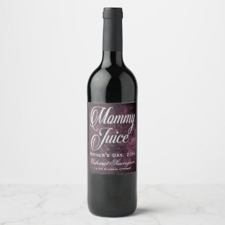 Mommy Juice Mother's Day Grape Sangria Purple Wine Label