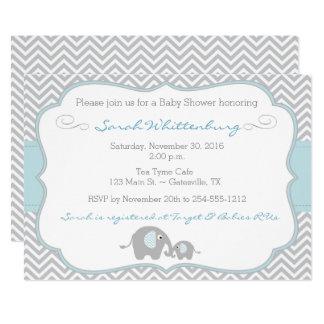 Mommy & Me Elephant Chevron Baby Shower Invitation