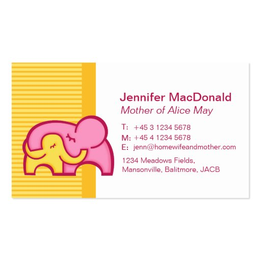Mommy / mummy  calling information cards business card