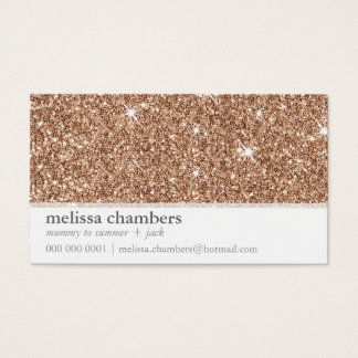 MOMMY PLAYDATE CONTACT modern rose gold glitter Business Card