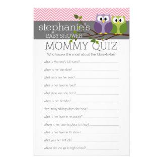 Mommy Quiz Shower Games Pink Owls Baby Girl 14 Cm X 21.5 Cm Flyer