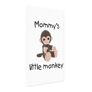 Mommy s Little Monkey brown Gallery Wrapped Canvas
