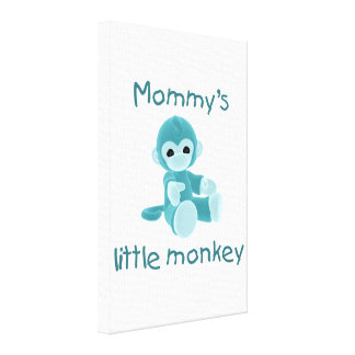 Mommy s Little Monkey teal Gallery Wrap Canvas