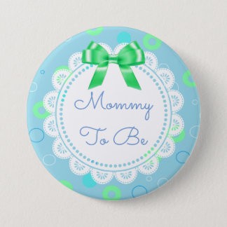 Mommy to Be Baby Shower Button Green Blue
