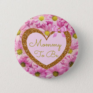 Mommy To Be Baby Shower Button Pink Daisies