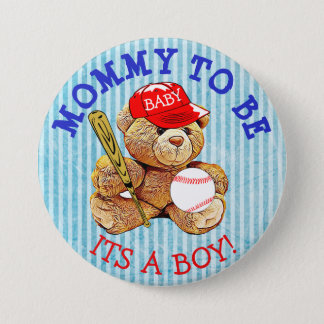 Mommy to be Baseball Teddy Bear Baby Shower Button