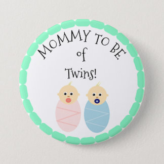 Mommy to be of Twins Boy & Girl Baby Shower button