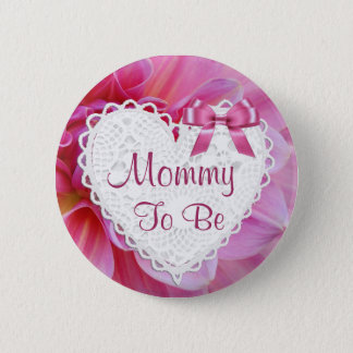Mommy to be Pink Blossoms Baby Shower Button