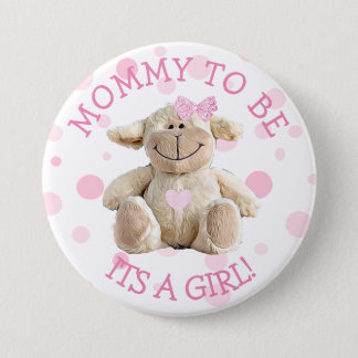 Mommy to be pink Lamb  Baby Shower Button