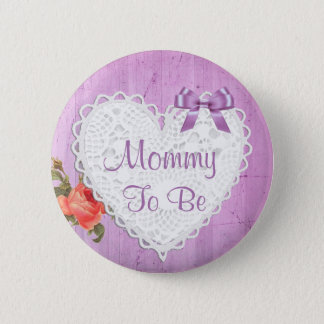 Mommy to be Purple Lace Heart Baby Shower Button
