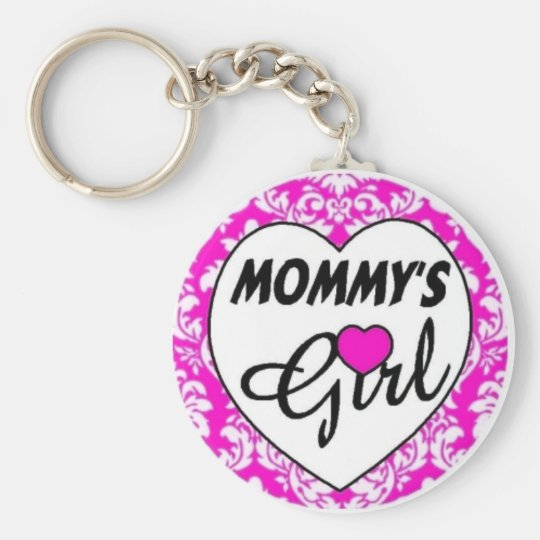 mommys girl. pink basic round button key ring