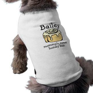 Mommy's Sweet Honey Bun Personalized Cinnamon Roll Sleeveless Dog Shirt