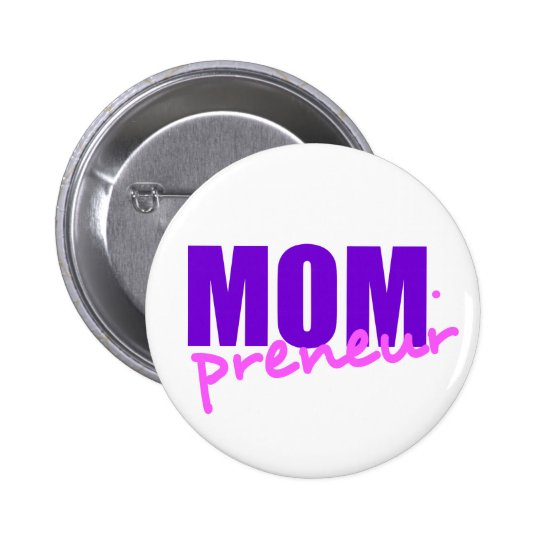 Mompreneur With Dot Hyphen, Two Colours 6 Cm Round Badge