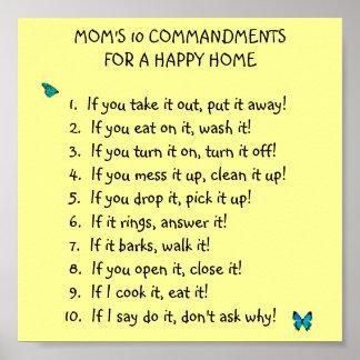 Mom's 10 Commandments Poster