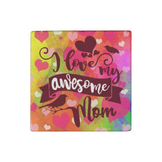 Moms Are Awesome Mother's Day Typography Stone Magnet