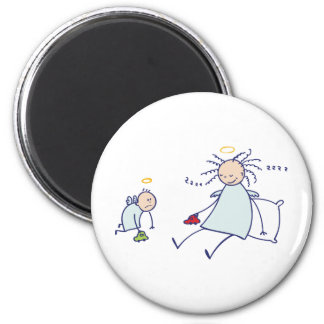 Moms are not angels 6 cm round magnet